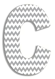 The Stupell Home Decor Collection Gray Chevron Hanging Wall Initial, 18-Inch, C