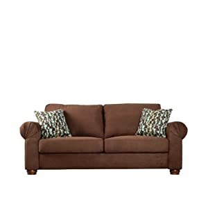 Handy Living OXF1-S10-AAA89 Oxford Transitional Rolled Arm Microfiber Sofa, Dark Brown With 2 Decorative Orbit Brown & Blue Throw Pillows