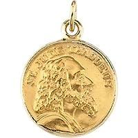 14K Yellow Gold Round St Jude Thaddeus Pendant Medal