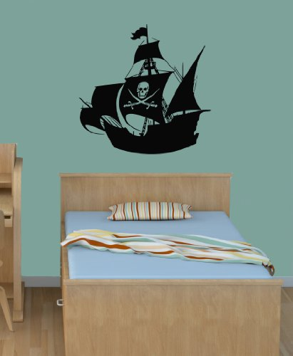 Housewares Vinyl Decal Pirate Old Ship Skull Sign Boy Nursery Decor Home Wall Art Decor Removable Stylish Sticker Mural Unique Design For Room back-564731