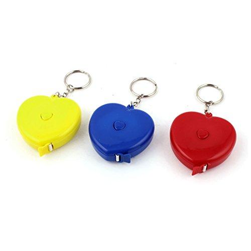 1.5M Heart Shaped Keyring Measuring Tape Ruler Yellow Red Blue 3pcs