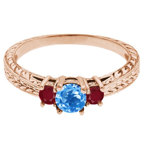 0.61 Ct Round Swiss Blue Topaz Red Ruby 14K Rose Gold 3-Stone Ring