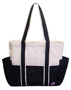100% Cotton Canvas Shoulder Tote w/ Multiple Pockets, Black, IMPROVED!