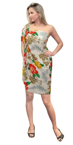 La Leela Allover Floral And Leaf Printed Sarong White Orange