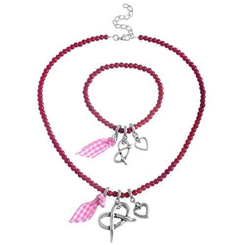 MJARTORIA-Damen-Handarbeit-Oktoberfest-Schmuck-Set-Halskette-Armband-mit-Herz-Anhnger-Charms-Rot-Perlen-Beads
