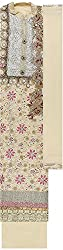 Preety Women's Net Semi Stitched Dress Material (PW040, Cream)