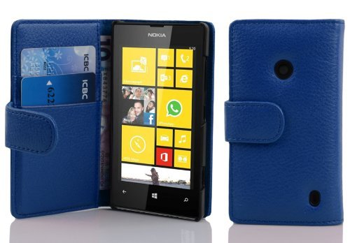 Cuir Coque Strass Case Etui Coque étui de portefeuille protection Coque Case Cas Cuir Swag Pour Nokia Lumia N520 Bleu