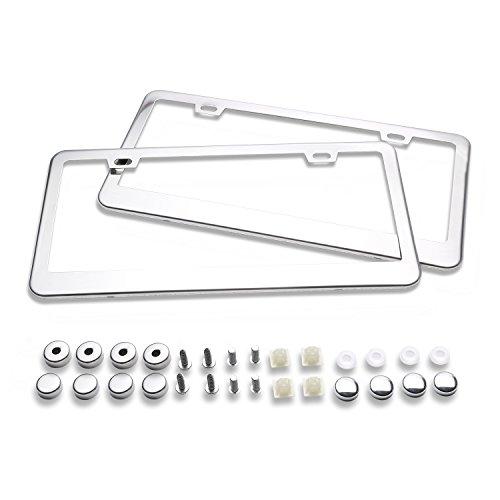 Ohuhu-2-Stainless-Steel-Polish-Mirror-License-Plate-Frame-Chrome-Screw-Caps