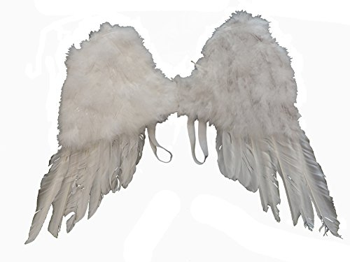 White Feather Angel Wings w/ Elastic Harness