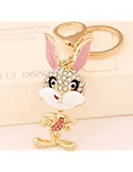 Ashiana Bling Mr Bunny Bag Charm Key Ring & Key Chain Pink