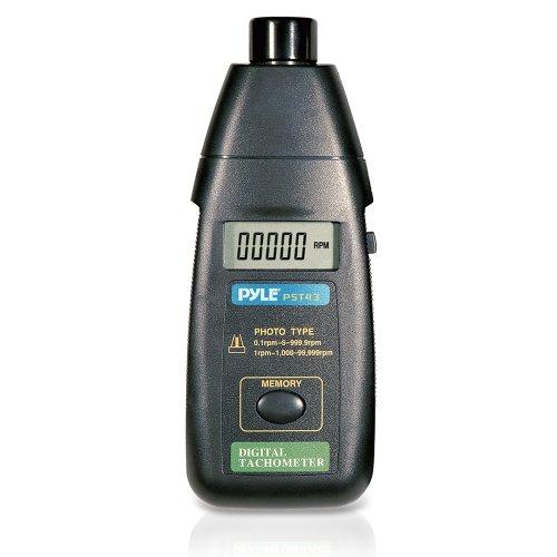 Tacómetro Pyle PST43 de láser sin contacto, rango RPM extendido, pantalla Digital LCD y estuche protector