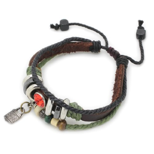 3-Strand Genuine Leather Adjustable Wristband / Bracelet with Synthetic Citrines & Lock Charm