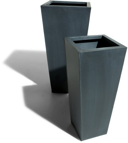 Strathwood Basics Square Zinc-Finished Planters Set of 2