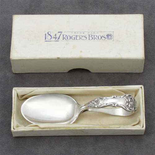 Charter Oak by 1847 Rogers, Silverplate Baby Spoon, Curved Handle