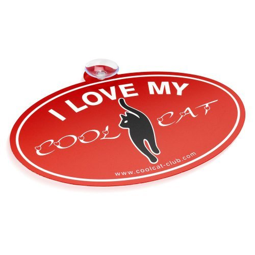 """Cool Cat Club Auto Aufkleber - Slogan 2 """"I Love My Cool Cat"""" (Rot / Weiß)"""