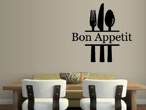 """Bon Appetit With Fork, Knife And Spoon ~ Wall Decal Home Decor, 13"""" X 14"""""""