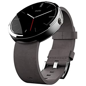 Motorola Moto 360 Smartwatch- Light Chrome/Stone Leather Strap