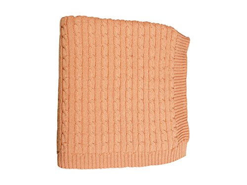 """DARZZI Cable Knit Baby Blanket, Blush Pink, 35""""x45"""""""