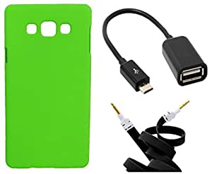 Toppings Hard Case Cover With OTG Cable & Aux Cable For Samsung Galaxy A7 - Green