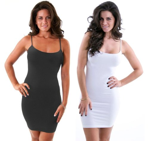 Women Solid Color Seamless Cami Slip Dress with Spaghetti Straps in Charcoal and White 2 Pack