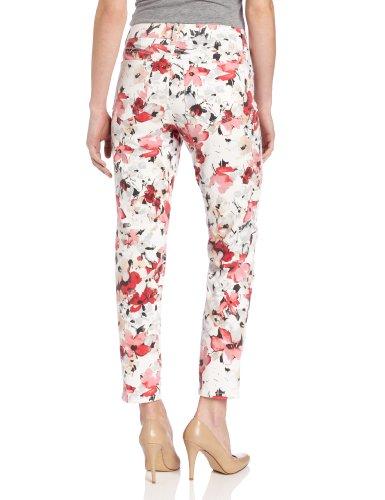 NYDJ Women's Petite Alisha Ankle Watercolor Floral Jean, Red Multi, Petite