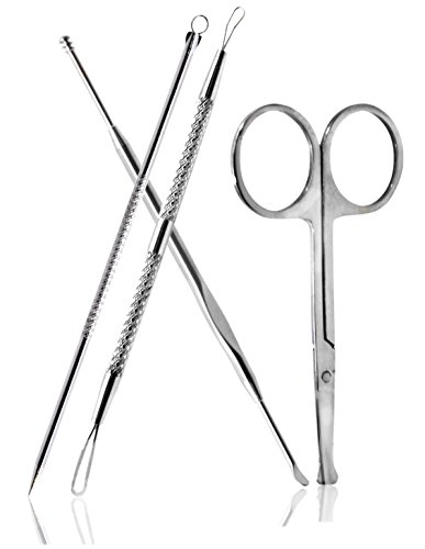 Beauty Smart Comedone Extractors, Ear Wax Removal Earpick, Facial Hair Removal Scissor, 4 PCS Set (4PCS) (Pore Vac compare prices)