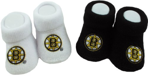 Boston Bruins Baby Booties Black/White (3-6 Mo.) - Two Pack