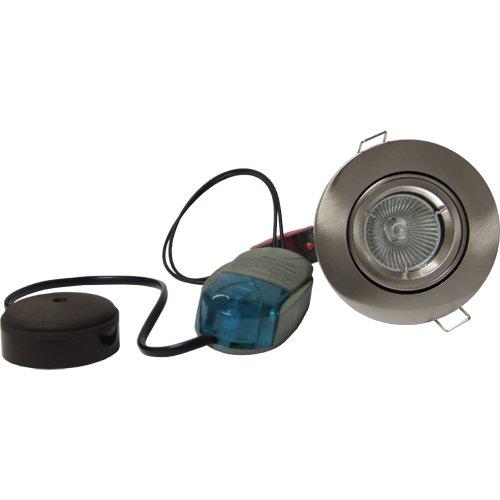 Fire Rated Downlight Tilt MR16 Low Voltage 12v Kit Satin Chrome