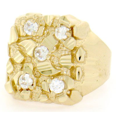 df712df2f1567 How Do You want 10k Solid Yellow Gold Nugget Diamond Cut Mens CZ ...