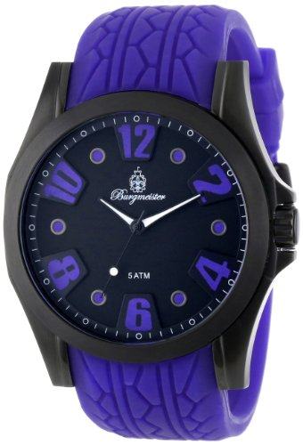 Burgmeister Men's Quartz Watch with Black Dial Analogue Display and Purple Silicone Strap BM606-623