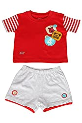 WOWMOM BABY KNIT SET BOYS BADGES 4 FRONT OPEN S/S WITH SHORTS_RED