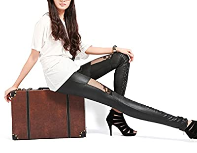 Panegy Punk Lace Up Stitching Tights Faux Leather Gothic Metallic Legging Pants