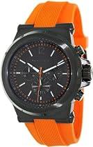 Michael Kors Dylan Chronograph Gunmetal Dial Gunmetal IP Orange Rubber Mens Watch MK8296