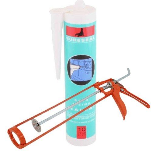 Bath And Shower Sealant (White) With Bonus Caulking Gun 1 Pack/S