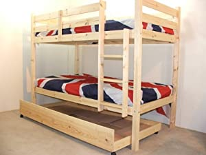 Childrens BunkBed 2FT6 X 5 FT 3 Bunk Bed with storage and TWO sprung mattresses