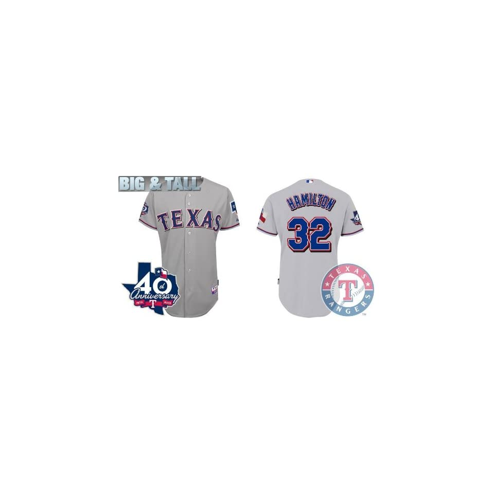 d767352da Big   Tall Gear Texas Rangers Authentic MLB Jerseys  32 Josh Hamilton GREY  Baseball Cool Base Jersey Size 56 XXXL w  40th Anniversary Patch (ALL are  sewn on ...