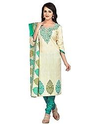 Shonaya Cream Colour Poly Cotton Printed Unstitched Dress Material