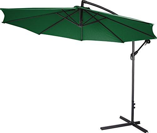 Trademark Innovations Deluxe Polyester Offset Patio Umbrella, 10', Dark Green