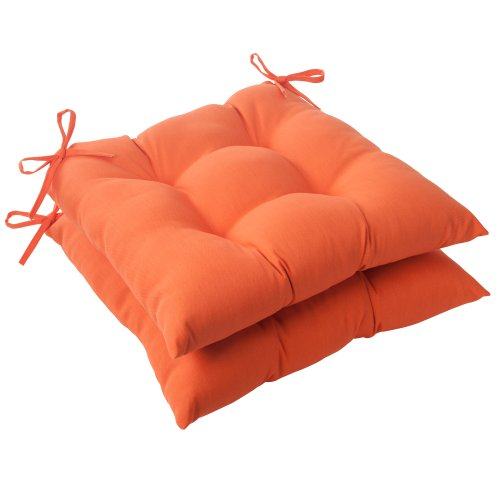 Pillow Perfect Indoor/Outdoor Sundeck Tufted Seat Cushion, Orange, Set of 2 pillow 113548