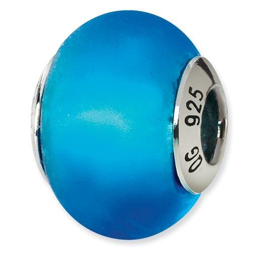 Sterling Silver Blue Matte Italian Murano Bead