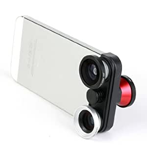 Docooler 4 in 1 Photo Lens Kit Double Fish Eye Macro Wide Angle Lens for iPhone 5 5S