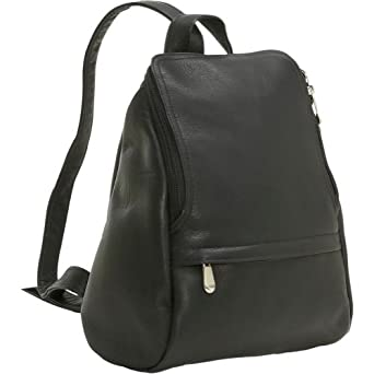 LeDonne Vacquetta Leather U-Zip Mini Backpack Black