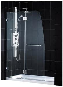 DreamLine DL-6511L-01CL AquaLux Frameless Hinged Shower Door and SlimLine 32-Inch by 60-Inch Single Threshold Shower Base Left Hand Drain