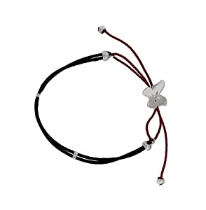 Tuscany Silver Diamond Cut Butterfly on Red and Black Cord Adjustable Friendship Bracelet 21cm/8.25""