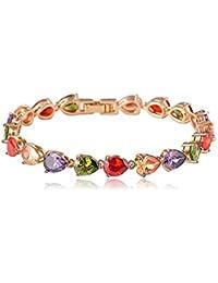 Jewels Galaxy Luxuria AAA Swiss Cubic Zirconia 18K Rose Gold Plated Diamond Single Strand Bracelet For Women/girls