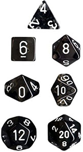 Chessex Manufacturing 23008 7-Die Polyhedral Set Smoke With White Translucent - 1