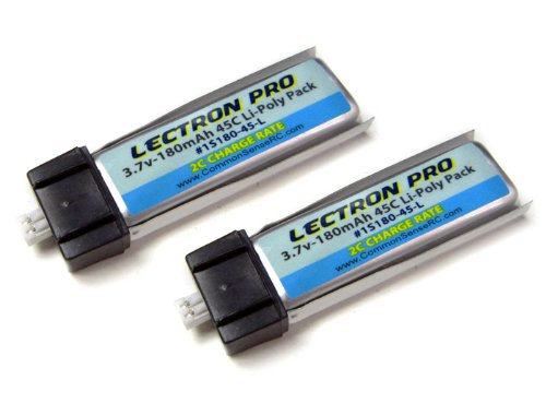 2-Pack of Lectron Pro 3.7 volt - 180mAh 45C Lipos for Blade mCX, mCX2, mSR, mSR X, Nano QX, Nano CPX, and UMX AS3Xtra - 1