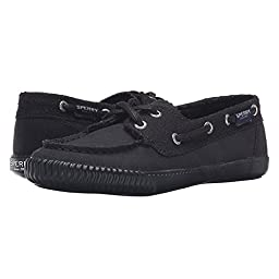 Sperry Top-Sider Women\'s Sayel Away Perf Canvas Black Boat Shoe 9 M (B)