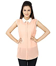 Whistle Women's Georgette Peach Casual Sleeveless Solid Top
