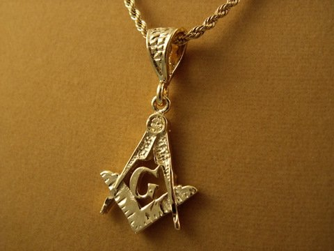 "24 INCH MASONIC PENDANT 18K GOLD OVERLAY 24"" 3mm rope CHAIN"